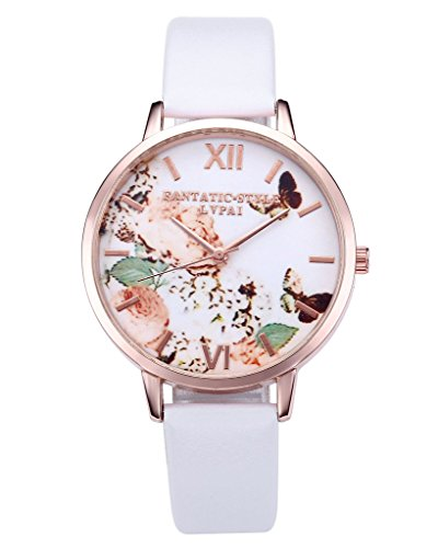 JSDDE Uhren Vintage Schmetterling Blumen Damen Armbanduhr Basel Stil Quarzuhr Lederarmband Rosegold Quarz Uhr Weiss