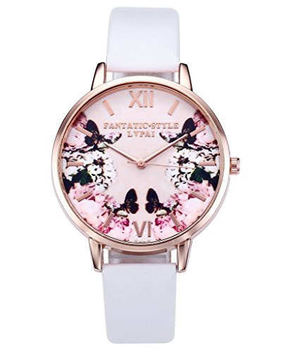 JSDDE Uhren Modische Schmetterling Blumen Armbanduhr Basel Stil Damen Uhr PU Lederband Rosegold Analog Quarzuhr Weiss