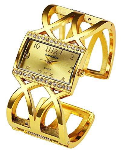 JSDDE Uhren Fashion Quadrat Strass Damen Spangenuhr Armbanduhr Hollow Band Analog Quarzuhr Gold
