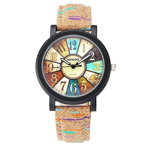 JSDDE Uhren Retro Stil Tarnung Farbig Streifen Armbanduhr Vintage Damenuhr Holz Kork Muster PU Lederband Analog Quarzuhr
