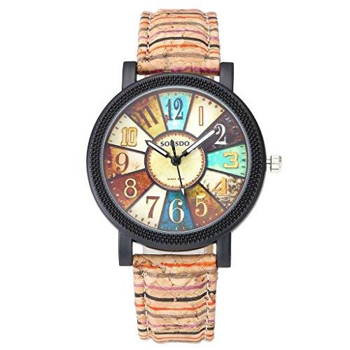 JSDDE Uhren Damen Retro Stil Farbig Streifen Armbanduhr Holz Kork Muster PU Lederband Analog Quarzuhr