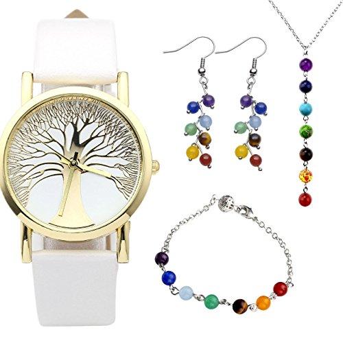 JSDDE Uhren Set Baum des Lebens Armbanduhr 7 Chakra Anhaenger Halskette Armband Ohrringe 7 Stein Reiki Healing Set 1 Weiss
