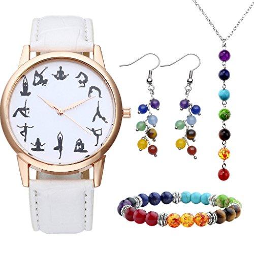 JSDDE Uhren Set Schwarz Yoga Muster Armbanduhr 7 Chakra Armband Anh nger Halskette Ohrringe Reiki Healing Schmuck Set 2 Weiss