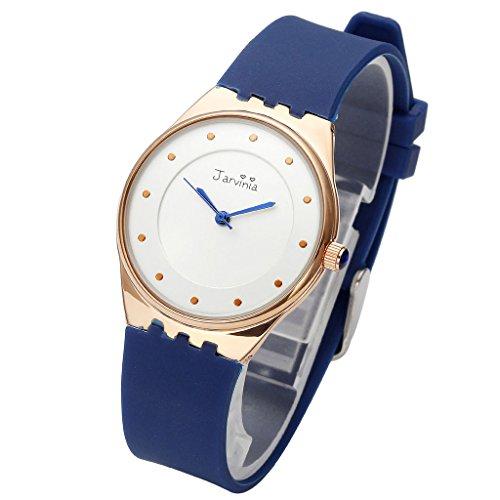 JSDDE Uhren Einfach Ultra d nne Armbanduhr Wasserdicht Silikon Band Sport Uhr Unisex Rosegold Annalog Quarzuhr Blau