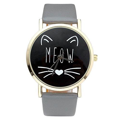 JSDDE Uhren Vintage Damen Uhr Cute Katze MEOW Design Armbanduhr Damenuhr Faux Leder Band Analog Quarzuhr Grau