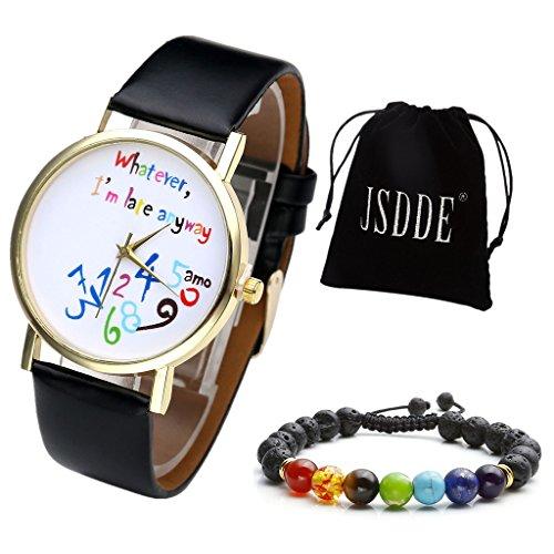 JSDDE Uhren Set Fashion Bunt Whatever Im late anyway Armbanduhr 7 Stein geflochte Armband mit Geschenk Samtbeutel