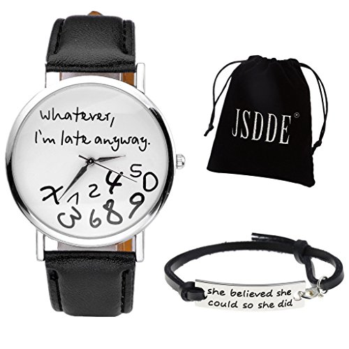 JSDDE Uhren Set Vintage Whatever Im late anyway Illusion Armbanduhr Echt Leder Armband mit Geschenk Samtbeutel