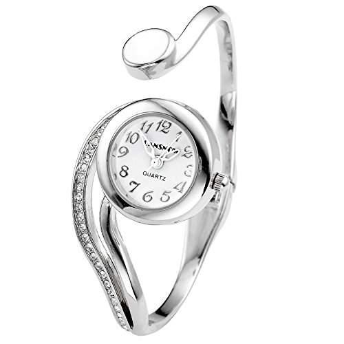 JSDDE Uhren,Elegant Damen Strass Weiss Zeiger Rund Armbanduhr Silber Beuge Design Armreifen Quarzuhr Spangenuhr