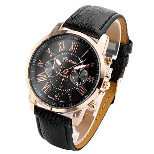 JSDDE Uhren,Damenmode Genf roemischen Ziffern Analog Quarzuhr chrono ArmbanduhrSchwarz