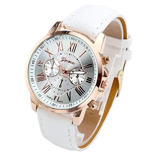 JSDDE Uhren,Damenmode Genf r?mischen Ziffern Analog Quarzuhr chrono ArmbanduhrWeiss