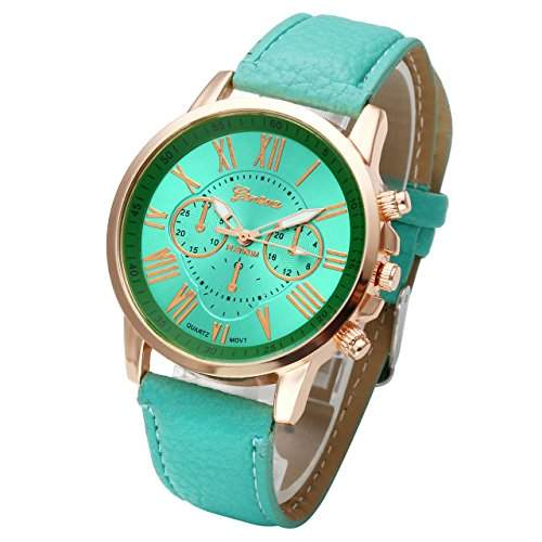 JSDDE Uhren,Damenmode Genf r?mischen Ziffern Analog Quarzuhr chrono ArmbanduhrT¨¹rkis