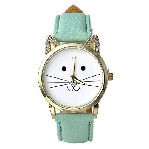JSDDE Uhren,Reizend Cute Maedchen Strass Katze-Gesichtsform Zifferblatt Armbanduhr Lederarmband Analog Quarzuhr,See-Blau