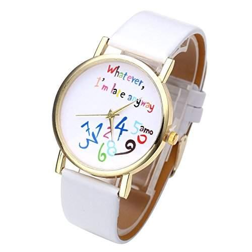 """JSDDE Uhren,Stilvoll Vintage """"Whatever, Im late anyway"""" Bunt Schreiben Muster Quarzuhr Armbanduhr,Weiss"""