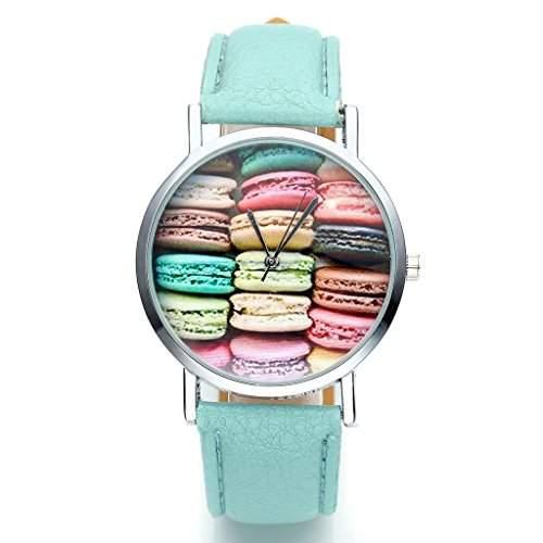 JSDDE Uhren,Fashion Damen Candy Farbe kein-Zifferskala Armbanduhr Macarons Zifferblatt Damenuhr Analog Quarzuhr,Blau-gruen