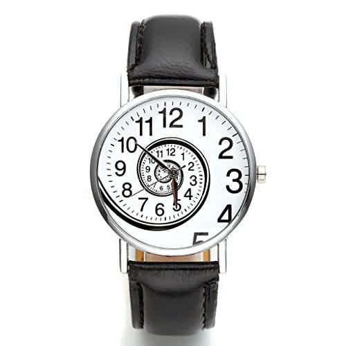 JSDDE Uhren,Vintage Damen Frauen Zeitspirale Strudel-Muster Armbanduhr Damenuhr PU-Leder Band Analog Quarzuhr,Schwarz