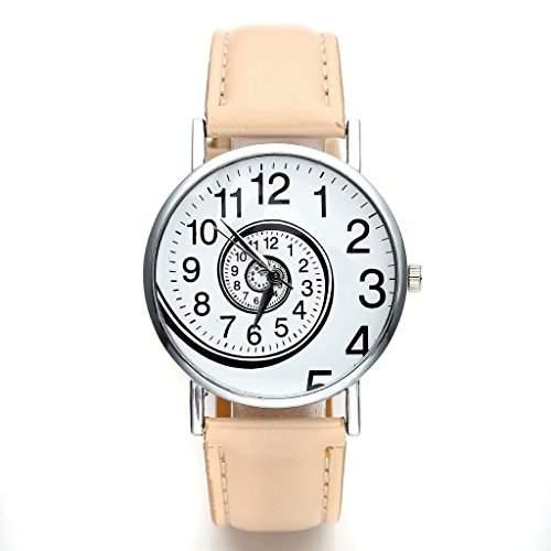 JSDDE Uhren,Vintage Damen Frauen Zeitspirale Strudel-Muster Armbanduhr Damenuhr PU-Leder Band Analog Quarzuhr,Beige