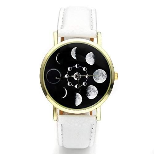 JSDDE Uhren,Fashion Damen Mondfinsternis-Muster Armbanduhr kein-Zifferskala Damenuhr Lederarmband Analog Quarzuhr,Weiss