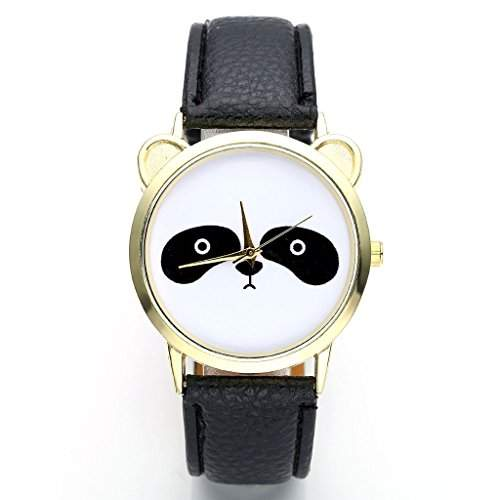 JSDDE Uhren,Damenmode Lieblich Panda-Muster Armbanduhr kein-Zifferskala Damenuhr PU-Lederarmband Analog Quarzuhr,Schwarz
