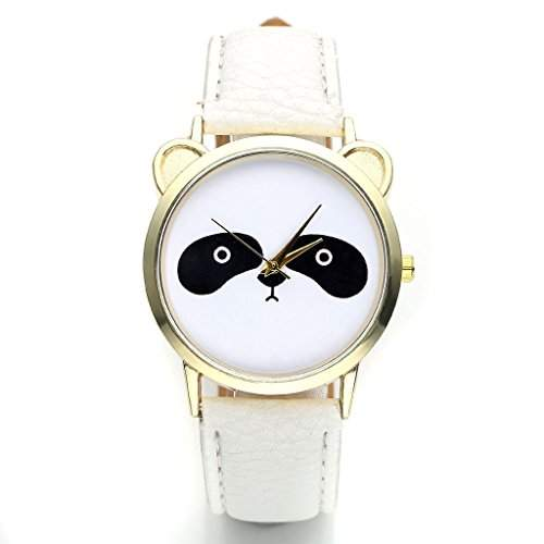 JSDDE Uhren,Damenmode Lieblich Panda-Muster Armbanduhr kein-Zifferskala Damenuhr PU-Lederarmband Analog Quarzuhr,Weiss