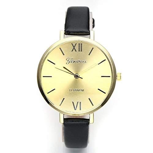 JSDDE Uhren,Genf Elegante Damen-Armbanduhr XS Slim PU Lederarmband Ladies Dress Analog Quarzuhr Minimalismus Damenuhr,Schwarz