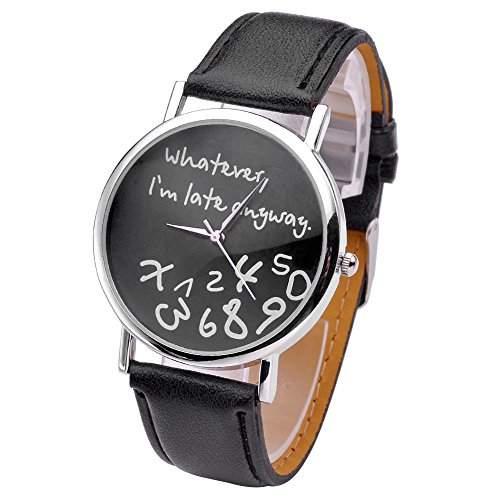 JSDDE Uhren,Vintage Damenmode ?Whatever, Im late anyway? Graviert Illusion Damenuhr Quarzuhr ArmbanduhrSchwarz