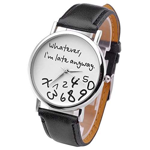 JSDDE Uhren,Vintage Damenmode ?Whatever, Im late anyway? Graviert Illusion Damenuhr Quarzuhr ArmbanduhrSschwarz-Weiss
