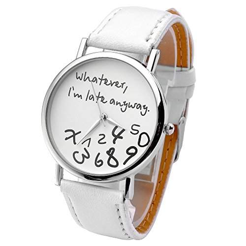 JSDDE Uhren,Vintage Damenmode ?Whatever, Im late anyway? Graviert Illusion Damenuhr Quarzuhr ArmbanduhrWeiss