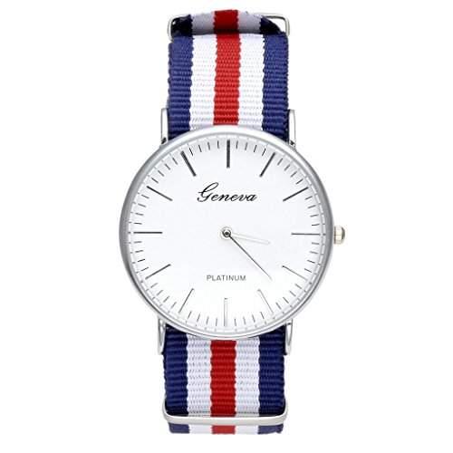 JSDDE Uhren,Genf Herren Damen Armbanduhr Nylon Textil Band Durchzugsband Analog Quarzhr Chronograph UhrDoppel Rot-Weiss-Blau