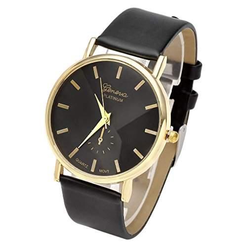 JSDDE Uhren,Eelgant Genf Damen Herren Armbanduhr Lederarmband Damenuhr Vogue Gold Analog QaurzuhrSchwarz