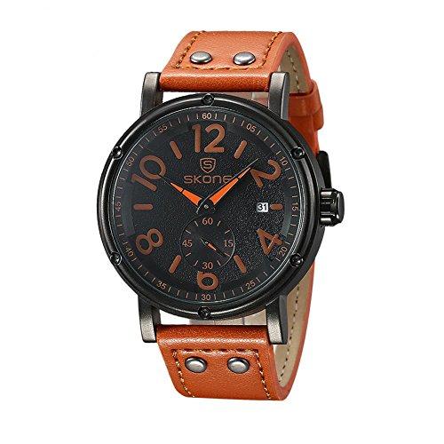 Leopard Shop SKONE 9429eg Herren Quarz Armbanduhr Datum Display Sekunden sub dial Armbanduhr Lederband hellbraun
