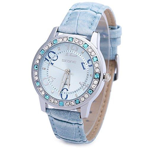 Leopard Shop SKONE 9243 Frauen Quarz Armbanduhr Strass verziert Leder Band Runde Form Blau