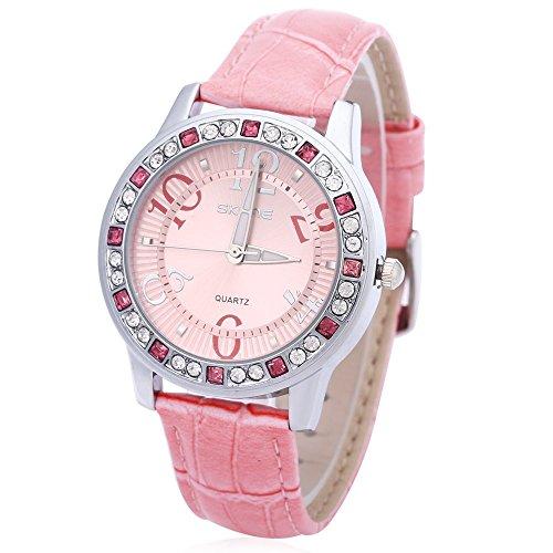 Leopard Shop SKONE 9243 Frauen Quarz Armbanduhr Strass verziert Leder Band Runde Form Pink