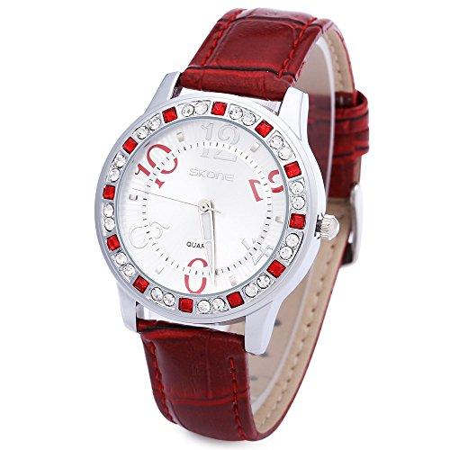 Leopard Shop SKONE 9243 Frauen Quarz Armbanduhr Strass verziert Leder Band Runde Form Rot