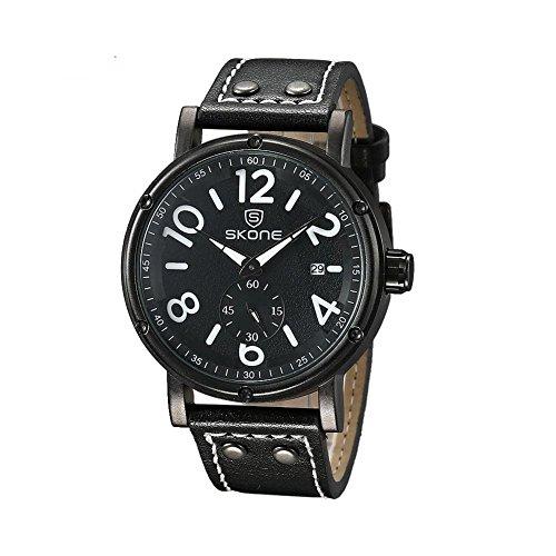 Leopard Shop SKONE 9429eg Herren Quarz Armbanduhr Datum Display Sekunden sub dial Armbanduhr Lederband schwarz
