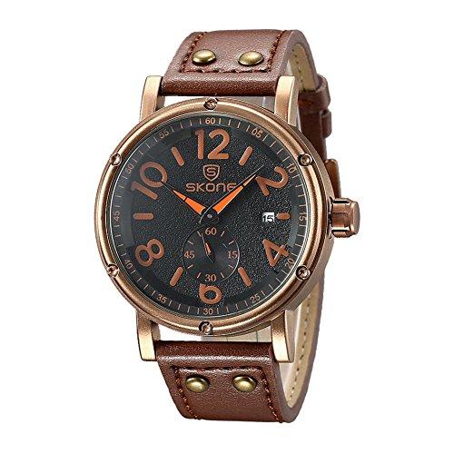 Leopard Shop SKONE 9429eg Herren Quarz Armbanduhr Datum Display Sekunden sub dial Armbanduhr Lederband braun