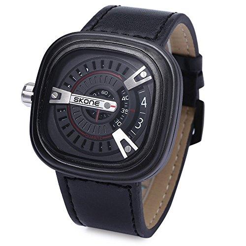 Leopard Shop SKONE 9421 G Herren Militaer Sport quadratische Form Leder Band mit Datum Funktion schwarz