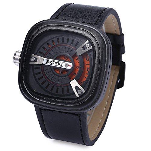 Leopard Shop SKONE 9421 G Herren Militaer Sport Quarz Armbanduhr quadratische Form Leder Band mit Datum Funktion Orange