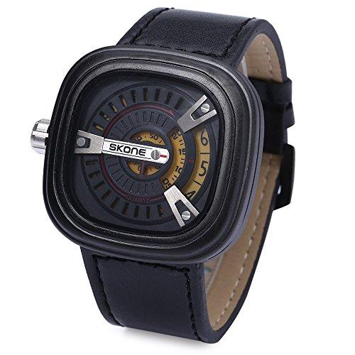 Leopard Shop SKONE 9421 G Herren Militaer Sport Quarz Armbanduhr quadratische Form Leder Band mit Datum Funktion GELB
