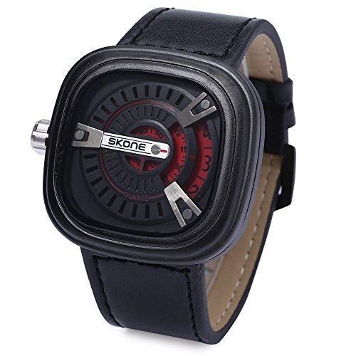 Leopard Shop SKONE 9421 G Herren Militaer Sport Quarz Armbanduhr quadratische Form Leder Band mit Datum Funktion Rot