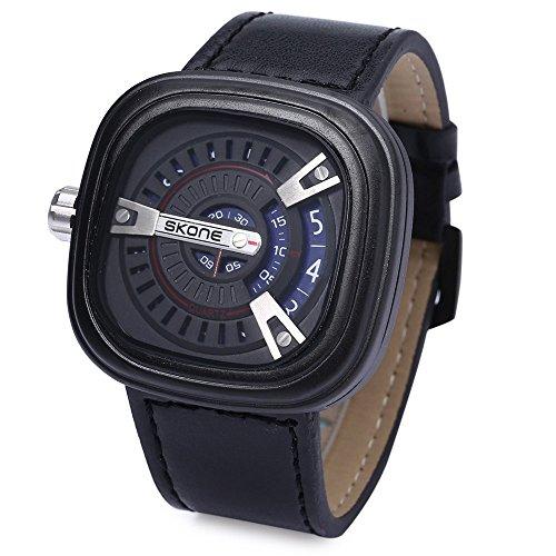 Leopard Shop SKONE 9421 G Herren Militaer Sport Quarz Armbanduhr quadratische Form Leder Band mit Datum Funktion Blau