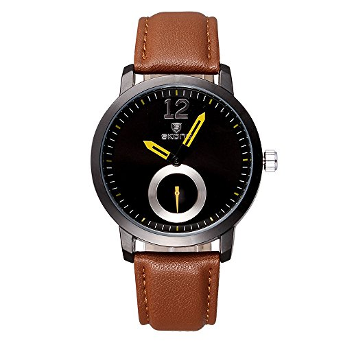 Skone Herren Armbanduhr minimal Quarz Lederband schwarz braun gelb