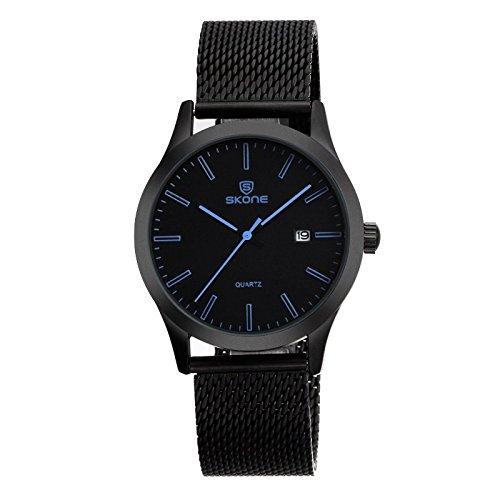 Skone Quarz keine Ziffern minimal Metallband schwarz blau
