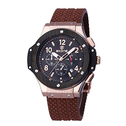 skone mens chronograph silikon uhren mit kalender kaffee schwarz 390005