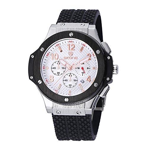 skone mens chronograph silikon uhren mit kalender schwarz silber l nette white dial 390001