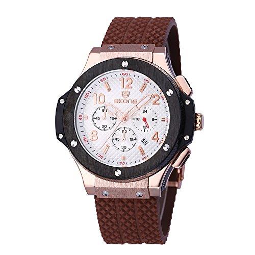 skone mens chronograph silikon uhren mit kalender kaffee white dial 390002