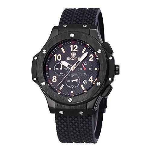 skone mens chronograph silikon uhren mit kalender schwarz schwarzen dial 390003