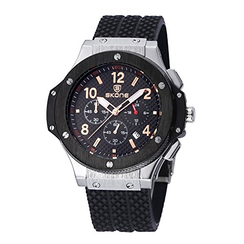 skone mens chronograph silikon uhren mit kalender schwarz silber l nette schwarzen zifferblatt 390004