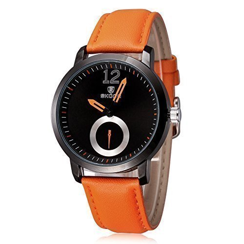 skone minimalistische multi farbe orange pu unisex uhr mit lederband 510503