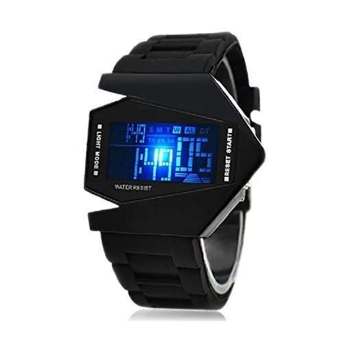 LED-Armbanduhr, V Edition, Silikonarmband schwarz