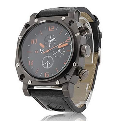 Gladiator - Herren Sport Uhr, PC Quartz, mit Schwarzen PU Lederarmband Armbanduhren